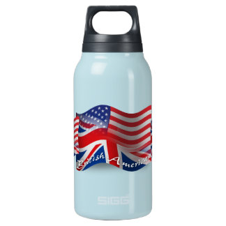British-American Waving Flag Insulated Water Bottle