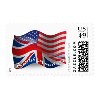 British-American Waving Flag Postage Stamps