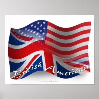 British-American Waving Flag Poster
