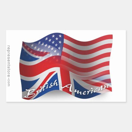 British-American Waving Flag Rectangular Sticker