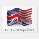 British-American Waving Flag Yard Sign
