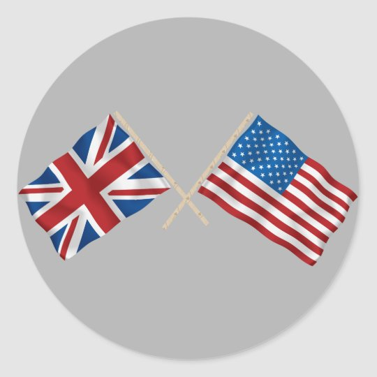 British and American Flag Classic Round Sticker