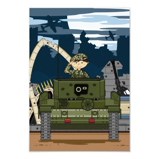British Army Soldier and Tank Scene RSVP Card