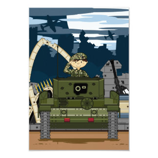 British Army Soldier and Tank Scene RSVP Card Custom Announcements
