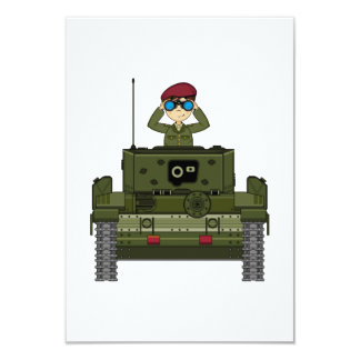 British Army Soldier in Tank RSVP Card Personalized Announcement