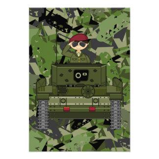 British Army Soldier in Tank RSVP Card Invites