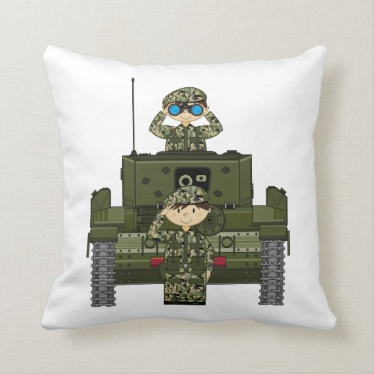 British Army Soldiers and Tank Pillow