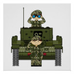 British Army Soldiers and Tank Poster
