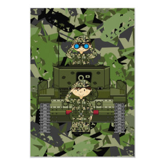 British Army Soldiers and Tank RSVP Card Custom Invite