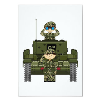British Army Soldiers and Tank RSVP Card Personalized Invites