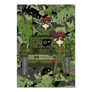 British Army Soldiers and Tank RSVP Card Personalized Invite