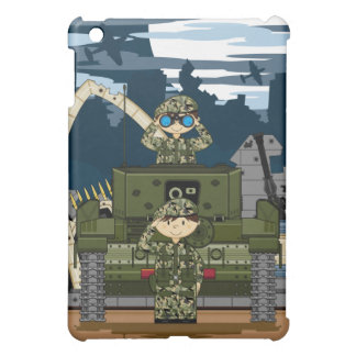 British Army Soldiers and Tank Scene ipad case