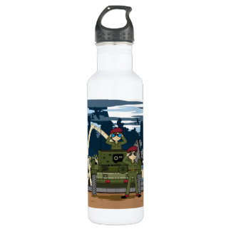 British Army Soldiers and Tank Scene Water Bottle