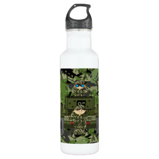 British Army Soldiers and Tank Stainless Steel Water Bottle