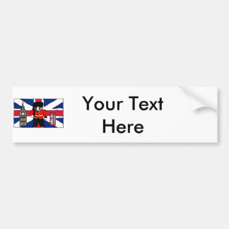 British Badger Big Ben Phone Booth Cartoon Bumper Sticker