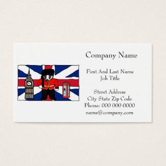 British Badger Big Ben Phone Booth Cartoon Business Card