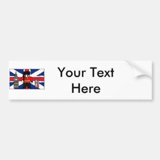 British Badger Big Ben Phone Booth Cartoon Car Bumper Sticker