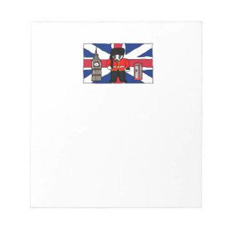 British Badger Big Ben Phone Booth Cartoon Notepad