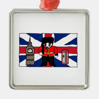 British Badger Big Ben Phone Booth Cartoon Silver-Colored Square Ornament
