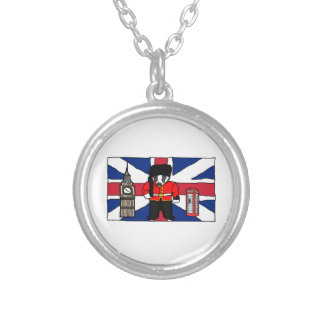 British Badger Big Ben Phone Booth Cartoon Silver Plated Necklace