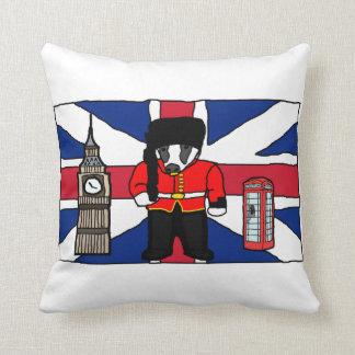 British Badger Big Ben Phone Booth Cartoon Throw Pillow