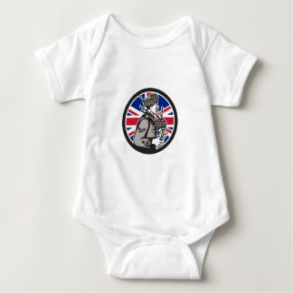 British Bagpiper Union Jack Flag Icon Baby Bodysuit