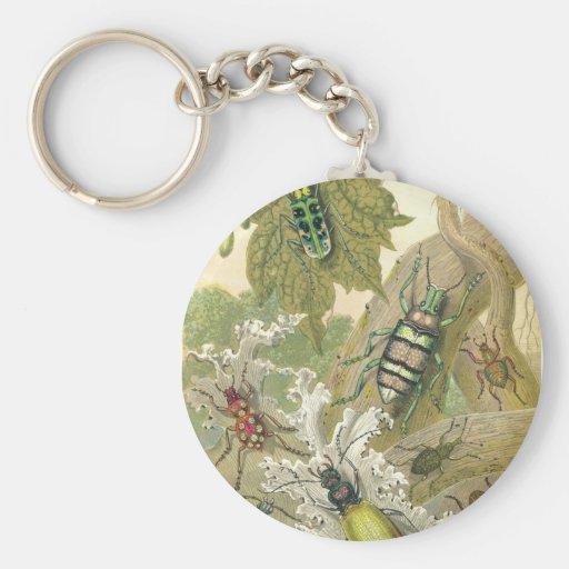 British Beetles Basic Round Button Keychain