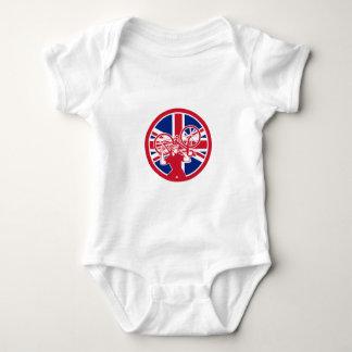 British Bike Mechanic Union Jack Flag Mascot Baby Bodysuit