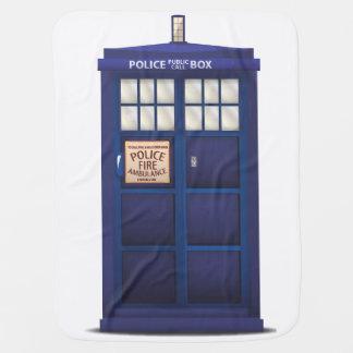 British Blue Police Public Call Box Swaddle Blanket