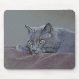 british blue shorthair cat painting mouse pad