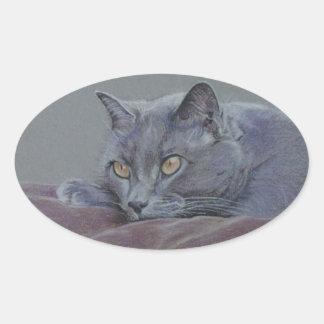 british blue shorthair cat painting oval sticker