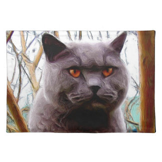 British blue shorthaired cat cloth placemat