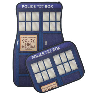 British Blue vintage Police Box Car Floor Mat
