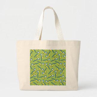 British Bluetit Bird on Green Pattern Tote Bag