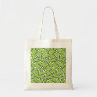 British Bluetit Bird on Green Pattern Canvas Bag