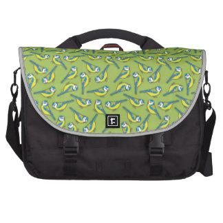 British Bluetit Bird on Green Pattern Laptop Commuter Bag