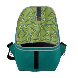 British Bluetit Bird on Green Pattern Messenger Bags