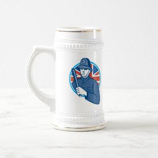 British Bobby Policeman Truncheon Flag Beer Steins