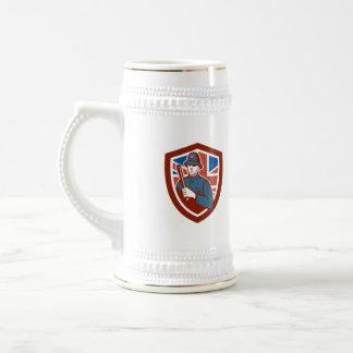 British Bobby Policeman Truncheon Flag Shield Retr Beer Steins