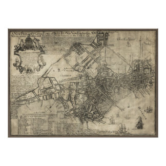BRITISH BOSTON MAP  1769 POSTER