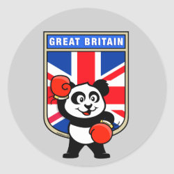 Round Sticker with Great Britain Boxing Panda design