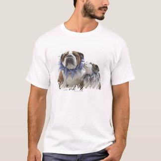 British bulldog and puppy wearing jester collar, T-Shirt