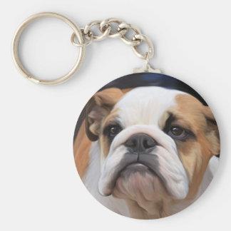 British Bulldog puppy Basic Round Button Keychain
