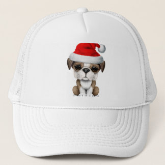 British Bulldog Puppy Dog Wearing a Santa Hat
