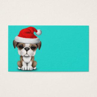 British Bulldog Puppy Dog Wearing a Santa Hat Business Card