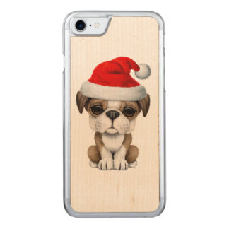 British Bulldog Puppy Dog Wearing a Santa Hat Carved iPhone 8/7 Case