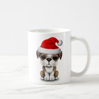 British Bulldog Puppy Dog Wearing a Santa Hat Coffee Mug