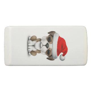 British Bulldog Puppy Dog Wearing a Santa Hat Eraser