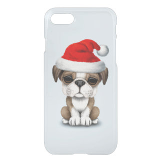 British Bulldog Puppy Dog Wearing a Santa Hat iPhone 8/7 Case
