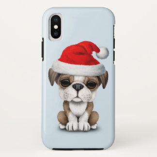 British Bulldog Puppy Dog Wearing a Santa Hat iPhone X Case